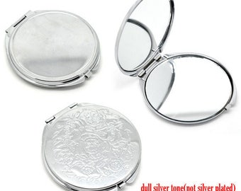 1 mirror to decorate on one side engraved engraved on the other side solid clasp 6.6 cm x6.2
