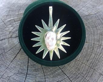 Natural Sunstone Crystal Skull Pendant Silver