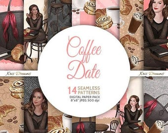SALE 50% OFF Coffee Date Fashion Seamless Digital Paper Fashion Illustration Coffee Frappe Designer Bag Cafe Table Chair Pastries  African A