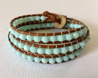 Crystal Seas Blue Glass Beaded Leather 3 Wrap Bracelet