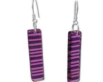 Colorful Stripes Fused Glass Rectangular Earrings, Colorful Earrings, Dangle Bar Earrings, Purple Earrings, Pink, Magenta Earrings