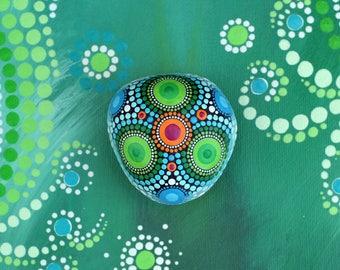 Mandala stone, hand-painted - Anubis-, dot art painting flower fairy dream ornament gift unique decor