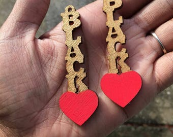 Black Love Hang and Drop Earrings