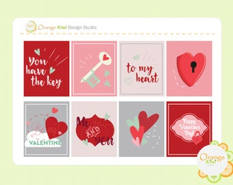 Valentine's Day Full Box Stickers, Key to my Heart Stickers, Valentine's Stickers, Erin Condren Life Planner