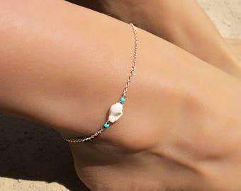 Turquoise Anklet, Ankle Bracelet, Foot Bracelet, Sterling Silver Anklet, Shell Anklet, Beach Anklet, Shell Jewelry, Boho Anklet, Festival