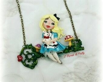 Collana con chiave - Alice e Bianconiglio