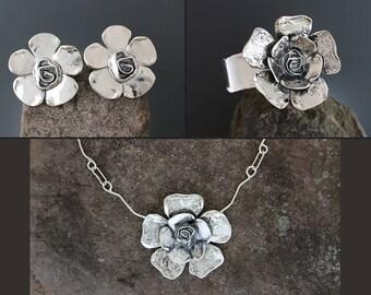 Sterling Silver Jewelry Set - Petal Rose Jewelry - Statement Earrings - Flower Earrings - Large Sterling Necklace - Silver Cuff Bracelet