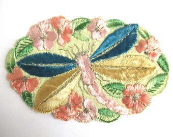 Dragonfly Applique 1930s vintage embroidered dragonfly applique. Vintage patch, sewing supply. Applique, Crazy quilt. #64AGC8K2C