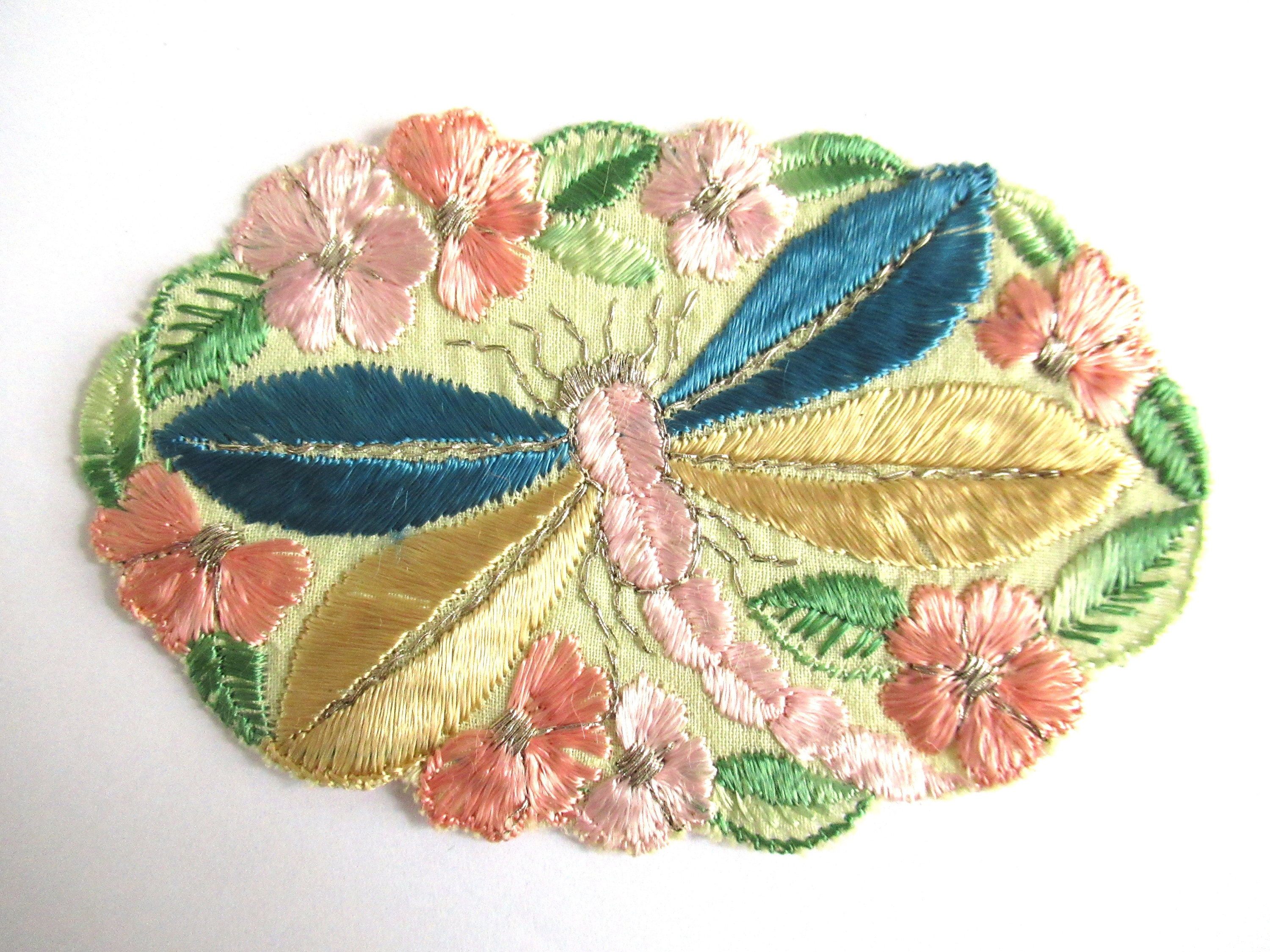 Dragonfly applique 1930s vintage embroidered dragonfly applique
