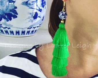 KELLY GREEN Layered Tassel Earrings | green, chinoiserie, stacked, tiered, blue and white, gold, Chinese, statement earrings
