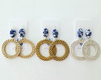 Large Chinoiserie RATTAN Hoop Earrings | straw, hoops, lightweight, blue and white, designs by, laurel leigh, statement earrings, gold