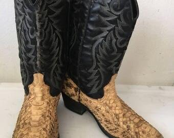 Vintage python western cowboy boots man size 9 1/2 US.