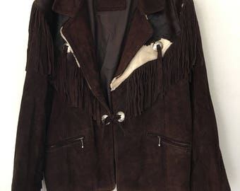 Western Short Vintage Brown Genuine Suede And Cow Fur Jacket Fringed Men's Size Medium.