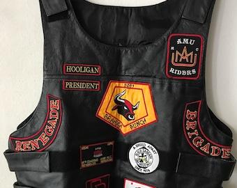 Motorcycle Rocker Short Vintage Black Genuine Leather Vest Durable And Strong Men's Size Large.
