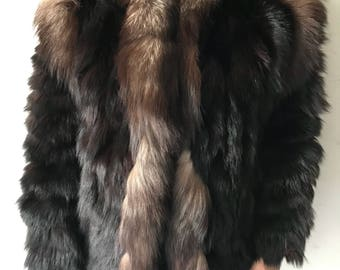 Polar fox fur coat with big silver fox collar size medium .