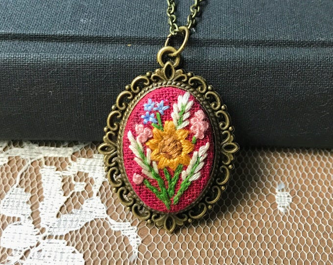 Hand Stitched Sunflower Pendant