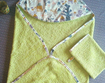 Hooded towel and washcloth for baby