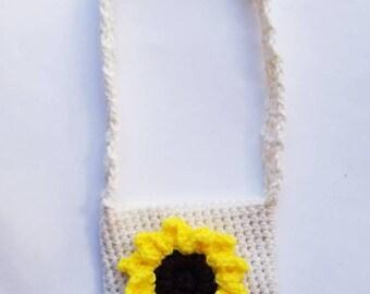 Crochet Sunflower Purse, Toddler Purse, Crochet Purse, Fall Purse, Sunflower Purse