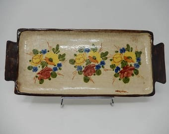 Old Flat Tart, Ceramic Vallauris by Massier, Free Shipping!