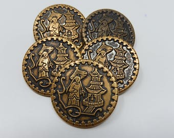 Five Chinese Buttons, Diameter: 2,6 cm