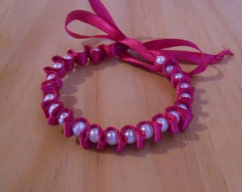 Fuchsia satin ribbon wedding bracelet