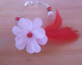 Wedding sensuality Red Feather bracelet