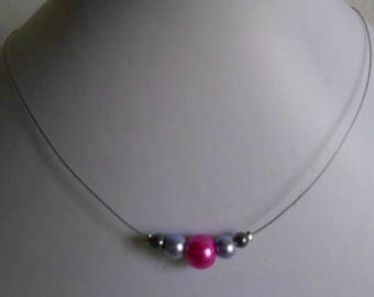 Trendy fuchsia, lavender and grey wedding necklace