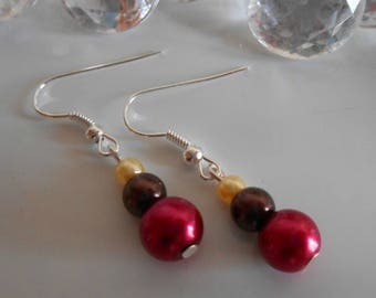 Trendy raspberry red wedding earrings Brown and yellow