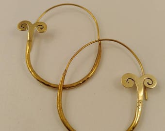 Brass earings & silver plated
