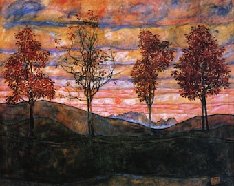 Four Trees by Egon Schiele - Poster A3 or A4 Matt, Glossy or Art Canvas Paper