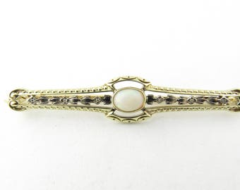 Vintage 14 Karat White/Yellow Gold and Opal Pin/Brooch #3036