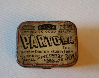 Vintage mint candy laxative tin