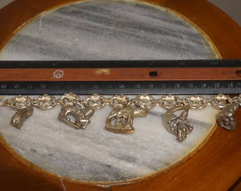 Vintage Etruscan Style 800 Silver Charm Bracelet 5 Great Fobs Charms