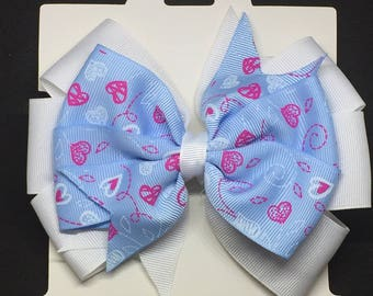"""6"""" Blue and White bow"""