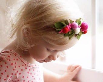 Felt flower Headband // Baby Girl Nylon Headband // Felt Berries Headband // Felt flower crown / Birthday Crown / Pink and Red // kikiandbee