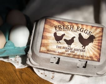 Custom Egg Carton Labels - Vintage Rising Sun - Pasture Raised - Happy Hens - Fresh Eggs - Customizable for your Farm - Half Dozen Cartons