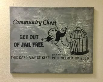 Monopoly Art Community Chest custom decor Get out of jail Free classic game room painting