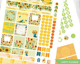 August Monthly Kit planner stickers Printable, HAPPY PLANNER STICKERS, August Monthly Kit,Sunflowers Planner Stickers Instant Download