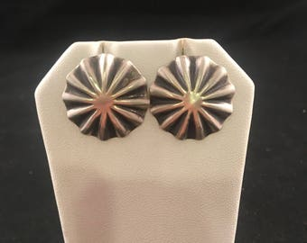 Native American Navajo Sterling Silver Concho Stud Earrings