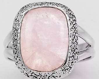 Polished MORGANITE Ring with 925 Sterling (Said to have the Frequency of Divine Love) size 8.5 er