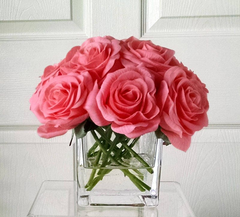Real Touch Roses-Flower Arrangement-Silk Flowers in Home Decor-Fake Flowers-Salmon Color Roses- Pale pinkish-orange Color Roses