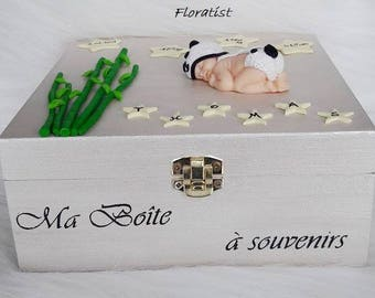 box memories baby panda and bamboo with name, date, time and weight of birth for birth, baptism.