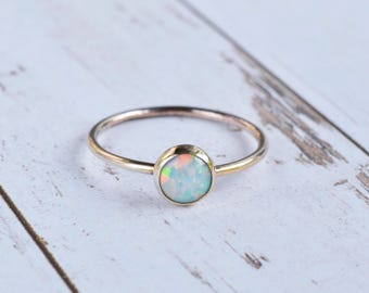 Rose Gold Opal Ring - Rose Gold Filled Stacking Ring - Multicolour Fire Opal - Alternative Engagement - October Birthstone