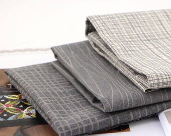 1/2 Yard / 17.7 inches, Plaid / Gingham / Stripe Pattern Linen Cotton Fabric, 59 inch / 150 cm Width