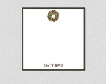 Personalized Note Pad, Square Memo Pad, Custom Notepads, Wreath Note Pad, Family Memo Pad, Personalized Gifts