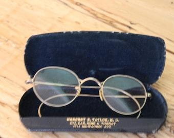 Wire Rim Glasses and Case
