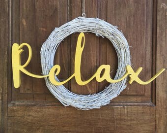 Relax Word Cut out   Relax Sign   Wooden Cut-out
