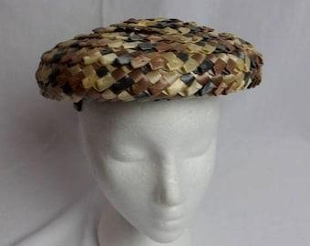 ON SALE Vintage 50s Hat Chanda Woven Brown Tan Beige Gray Ribbon Bow Women's Hair Clips