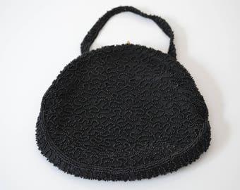Vintage Black Beaded Evening Bag Purse Belgium Made