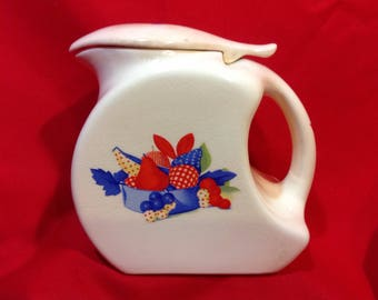 Universal Cambridge PITCHER Calico Fruit Pattern with Thumb-operated Lid 1940s-50s